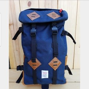 Topo Klettersack Navy and Leather Canvas Backpack